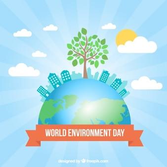 Fondo del día del medio ambiente de mundo con un árbol