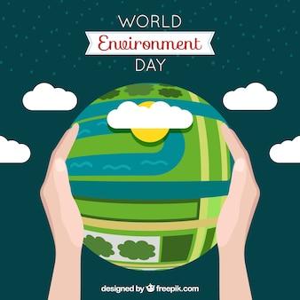 Fondo del día del medioambiente con globo terráqueo y nubes