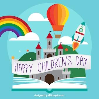 Fondo del día del niño con elementos de cuentos