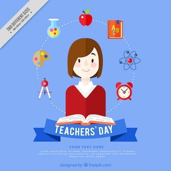 Fondo del día del profesor con elementos de asignaturas