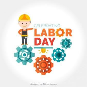 Fondo del día del trabajo de obrero con maquinaria