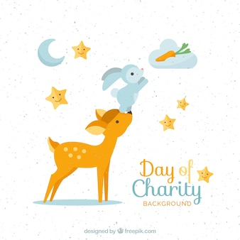 Fondo del día internacional de la beneficencia con adorables animales