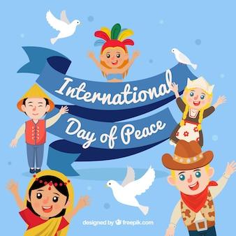 Fondo del día internacional de la paz con personas unidas