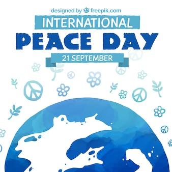 Fondo del día internacional de la paz pintado a mano