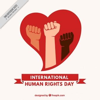 Fondo del día internacional de los derechos humanos con corazón