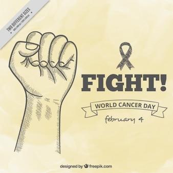Fondo del día mundial contra el cáncer con boceto de mano