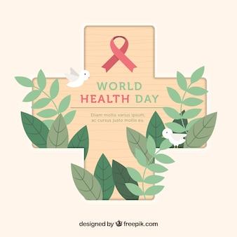 Fondo del día mundial de la salud con cruz de madera y elementos naturales
