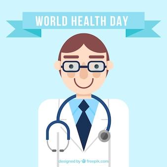 Fondo del día mundial de la salud con doctor sonriente