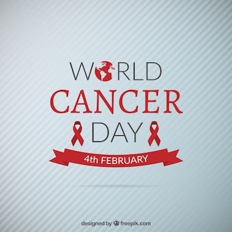 Fondo del día mundial del cáncer con lazos rojos
