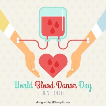 Fondo del día mundial del donante de sangre con dos brazos y transfusión de sangre