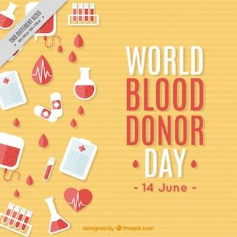 Fondo del día mundial del donante de sangre con elementos médcos