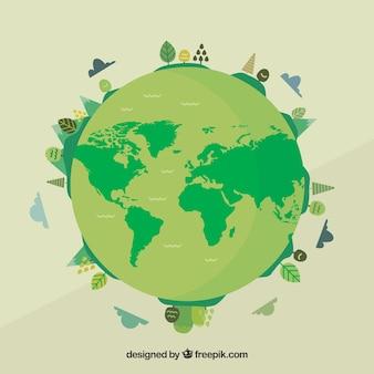 Fondo del día mundial del medioambiente con globo terráqueo verde