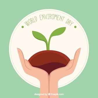 Fondo del día mundial del medioambiente de manos con planta
