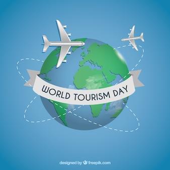 Fondo del día mundial del turismo con globo terráqueo
