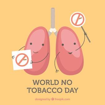 Fondo del día mundial sin tabaco con pulmones en huelga
