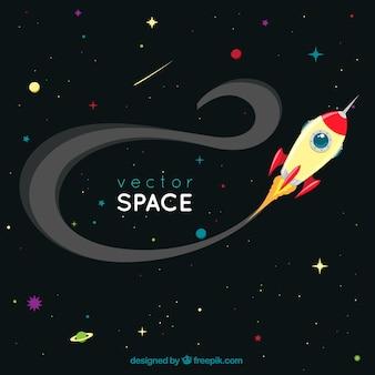 Fondo del espacio con un cohete
