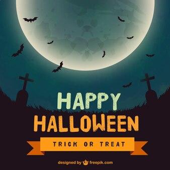 Fondo del feliz Halloween con una luna grande