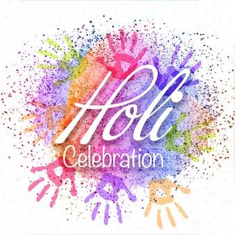 Fondo del festival de holi con manos de colores