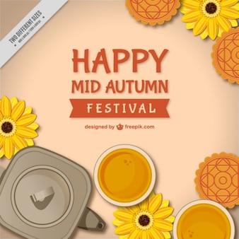 Fondo del festival del medio otoño con flores y tetera