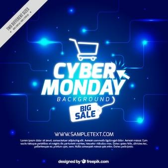Fondo del lunes cibernético azul con elementos blancos