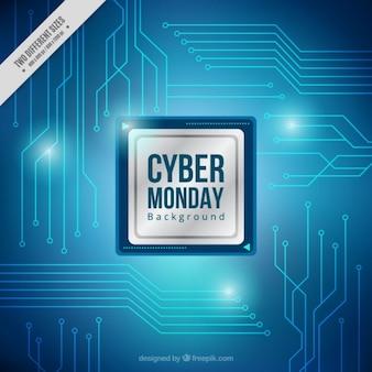 Fondo del lunes cibernético con circuitos azules