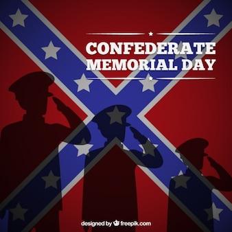 Fondo del memorial de los confederados con siluetas de soldados