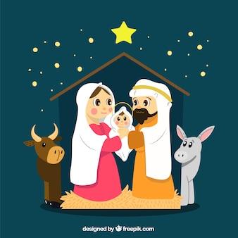 Fondo del nacimiento del niño jesús con un buey y una mula