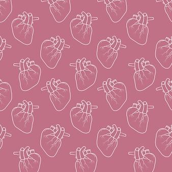 Fondo del patrón del corazón humano