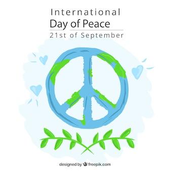 Fondo del símbolo de la paz con ramas de olivo y corazones