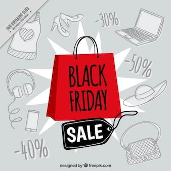 Fondo del viernes negro dibujado a mano con una bolsa de la compra roja