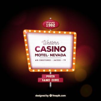 Fondo desenfocado con cartel luminoso de casino