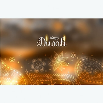 Fondo desenfocado de diwali con detalles florales dibujados a mano
