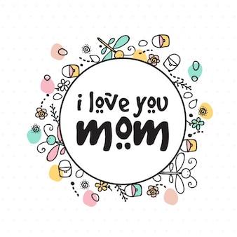 Fondo dibujado a mano con detalles de color para el día de la madre