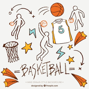 Fondo dibujado a mano con elementos de baloncesto decorativo