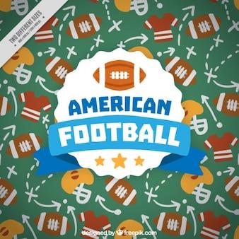 Fondo dibujado a mano con estrategias de fútbol americano