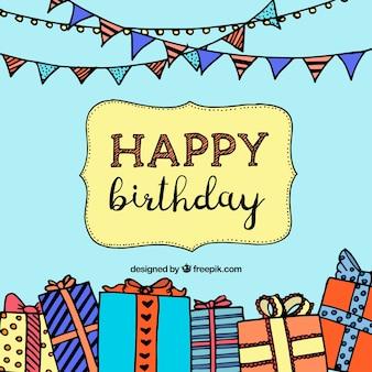 Fondo dibujado a mano con guirnaldas decorativas y regalos de cumpleaños