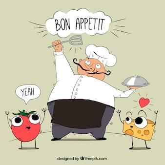 Fondo dibujado a mano de chef y personajes de comida sonrientes