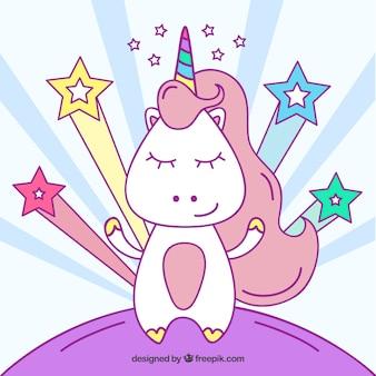 Fondo dibujado a mano de personaje de unicornio con estrellas
