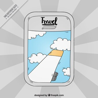 Fondo dibujado a mano de ventana de avión