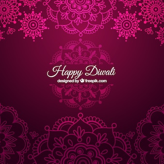 Fondo Diwali ornamental en color rosa
