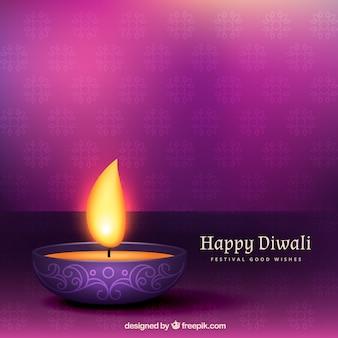 Fondo diwali púrpura con una vela