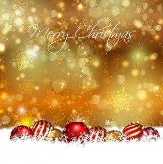 Fondo dorado bokeh de bolas de navidad en