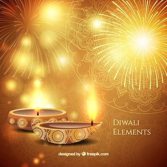 Fondo dorado brillante de diwali