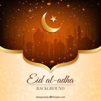 Fondo dorado brillante de eid al-adha
