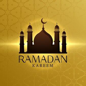 Fondo dorado de silueta de mezquita