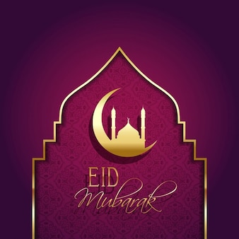 Fondo eid mubarak con detalles dorados