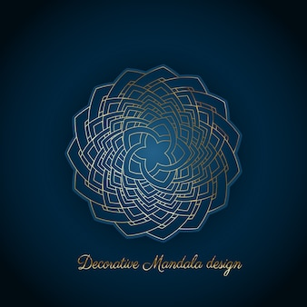 Fondo elegante con diseño decorativo de mandala azul