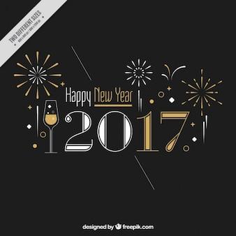 Fondo elegante de año nuevo con fuegos artificiales y detalles dorados