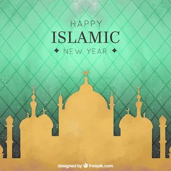 Fondo elegante y dorado de mezquita de año nuevo islámico