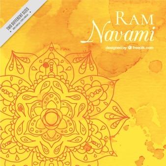 Fondo en acuarelas de ram navami en tonos amarillos